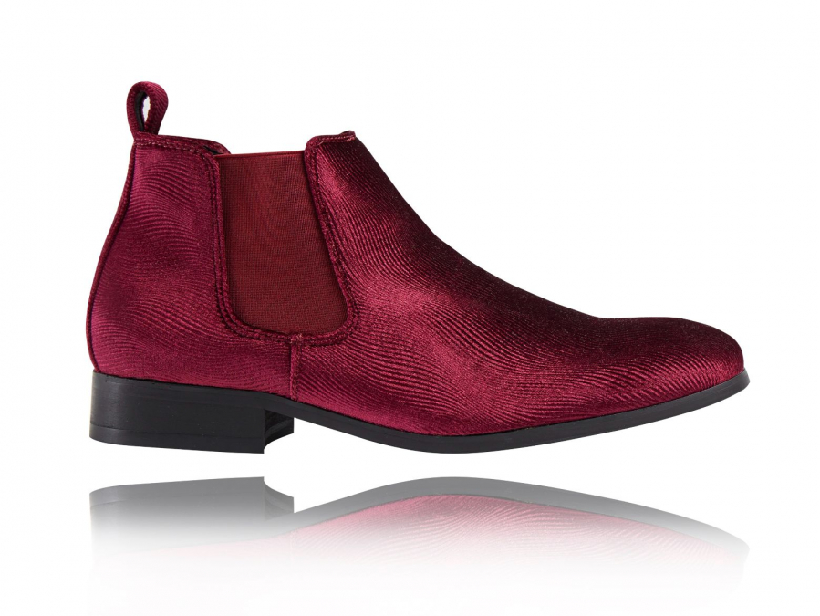 Corduroy Red Chelsea Boots
