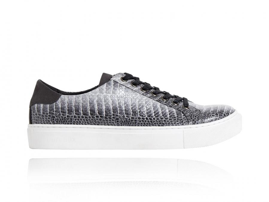 Baskets Dino gris, gris, gris, baskets, Lureaux, coloré, chaussures, peau, impression